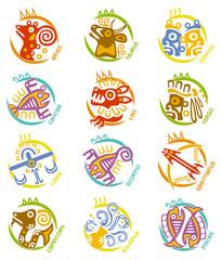 Maya art stylized zodiac signs