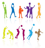 Fototapety Silhouettes of children jumping and playing basketball.
