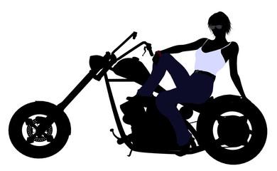 Female Biker Silhouette