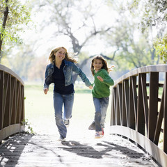 Young Girls On Bridge