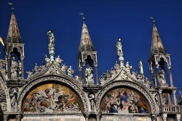 Saint Mark's Basilica Details Statues Mosaics Venice Italy