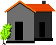Illustration of house and a green plant