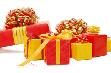 Boxes with gifts isolated on white background