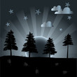 Vector night landscape with trees