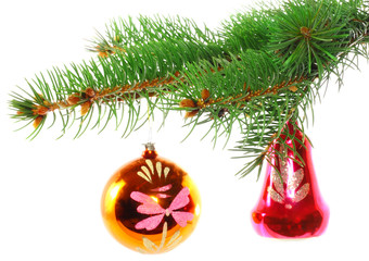 Christmas  decoration-glass balls on fir branches.Isolated