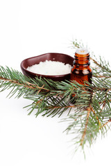 Sea salt with aromatic oil and fir branch on white background
