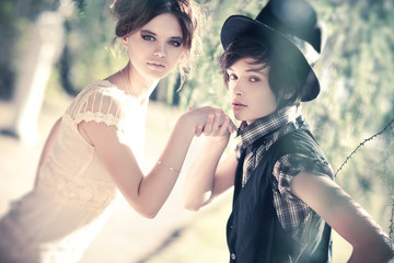 Young romantic couple portrait