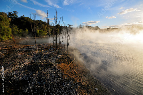 Steaming Thermal lake in Kuirau Park, Rotorua, New Zealand