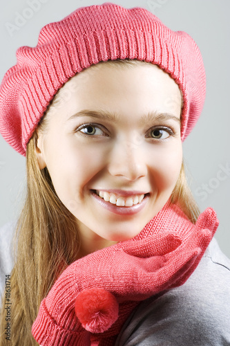 Cheerful winter girl