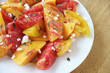 peaches with heirloom tomatoes