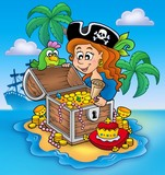 Pirate girl and treasure-