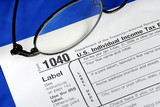 Working on the United States Income Tax 1040 poster