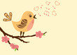 roleta: Singing bird on a blossoming branch.