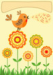 roleta: Singing bird. Greeting card.