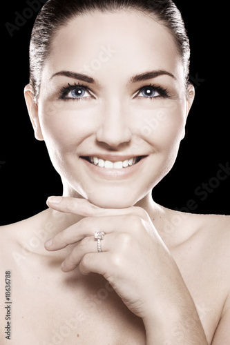 Beautiful woman wearing ring