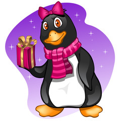 Penguin girl with present