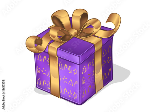 Purple present box with gold bow