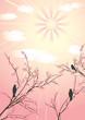 roleta: Blossom cherry-tree and birds.
