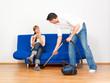 man homework with vacuum cleaner