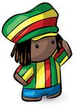 Rasta Hat Rastafarian Cute Dreadlocks Character poster