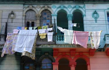 Old half-renovated colonial building in Havana, Cuba