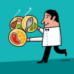 Camarero carga platos