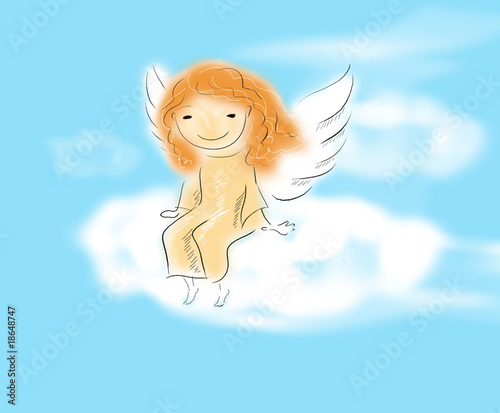 angel sitting on a cloud