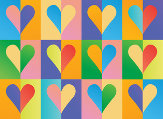 Bright background with a lot of hearts