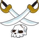 skull with two crossbones pirate swords poster