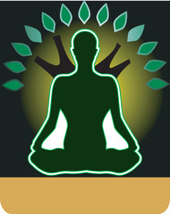 Illustration of a man doing yoga and meditation