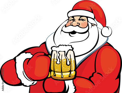 Santa Claus with a mug of beer