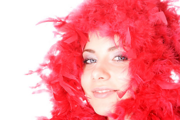 Beautiful  woman with red wig