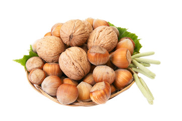 Ripe nuts in the brown basket.