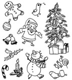 Set of Christmas doodles poster