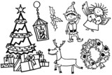 Christmas doodles characters set poster