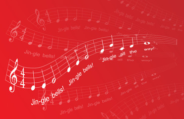 """Jingle Bells"" Sheet Music on red background (excerpt) (vector)"