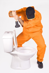 plumber with lavatorial bell and toilet bowl
