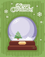 Christmas postcard with Christmas Crystal snow ball