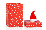 Gift box with christmas hat