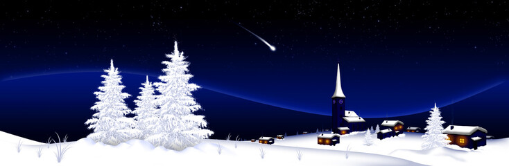 Winter Landscape Panorama With Falling Star