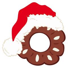 Chocolate shortbread with Santa Claus hat