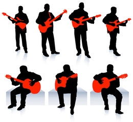 set of guitarist musicians on white background
