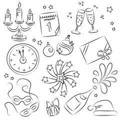 New Year sketch Set