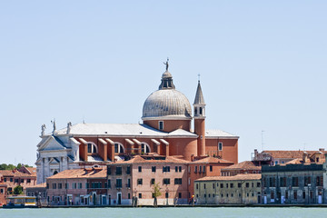 Venice Church and Red Buildings on Canal