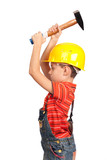 Little construction worker hitting with hammer