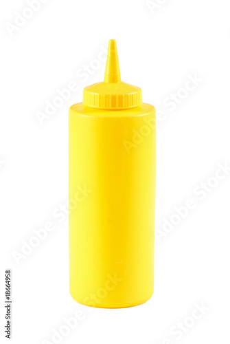 Yellow mustard bottle isolated on white