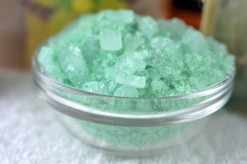 Aromatic green sea salt for bathing  in glass