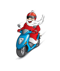 Santa Claus on the scooter