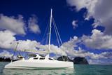 White Katamaran on water Lord Howe Island Australia poster