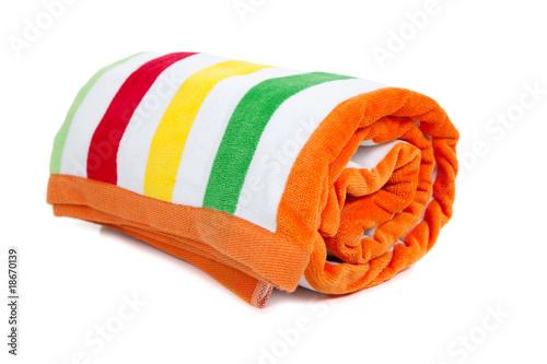 Striped beach towel on white - 18670139